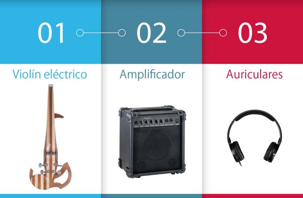 amplificador y violín eléctrico