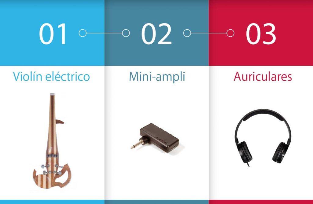 mini amplificador y violín