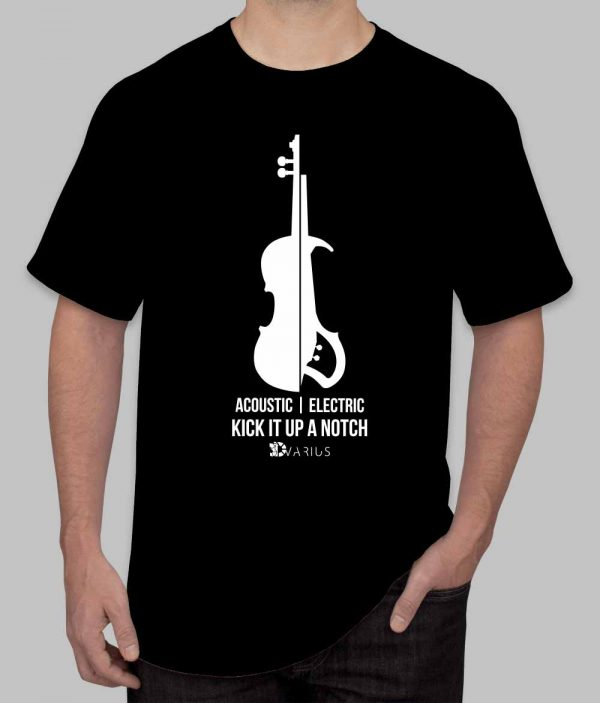 electric violin men black tee shirt