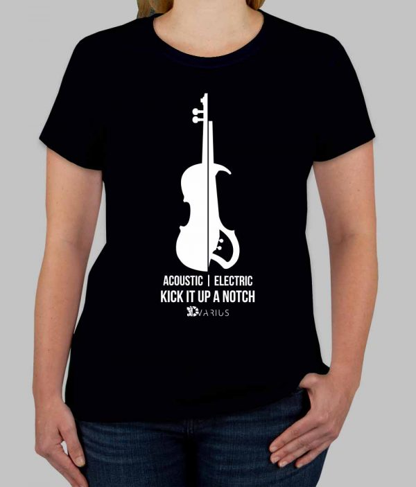 electric violin women black tee shirt