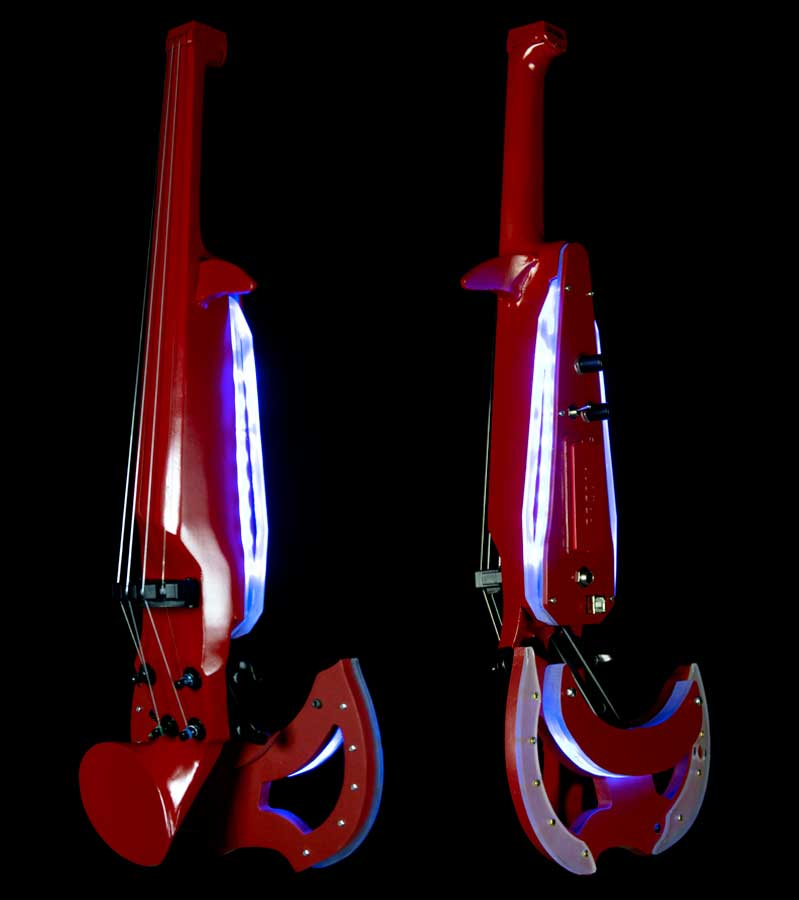 Red electric violin with LED
