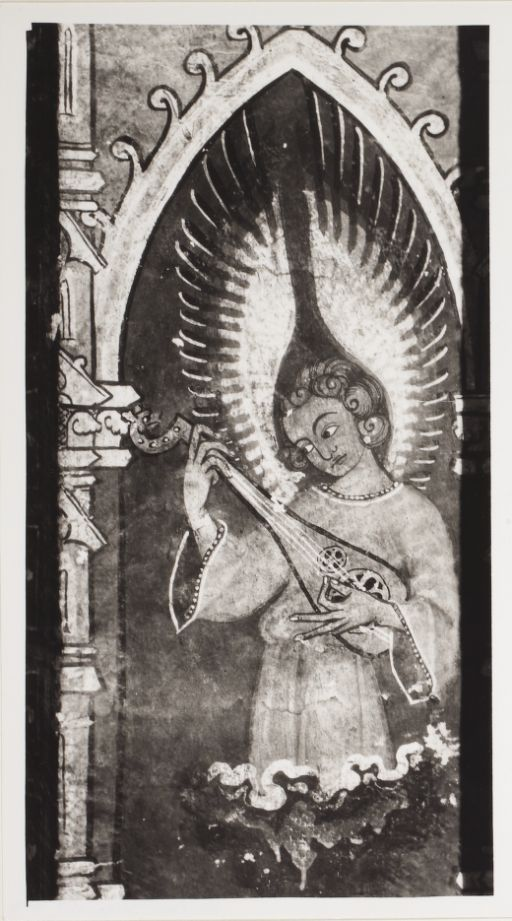 angel playing a rebec in the chapel